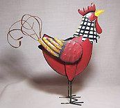 Red Metal Rooster Decor