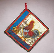 Rooster Hot Pad in Red & Blue