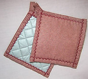 Old Fashioned Red Gingham Hot Pads