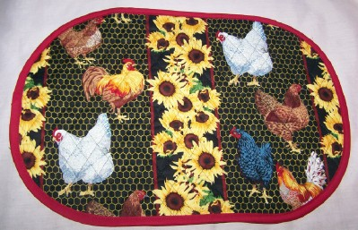 Set of 6 Quilted Chicken Placemats