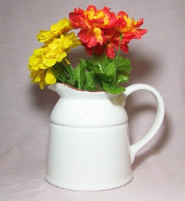 Ceramic Country Crock Vase White