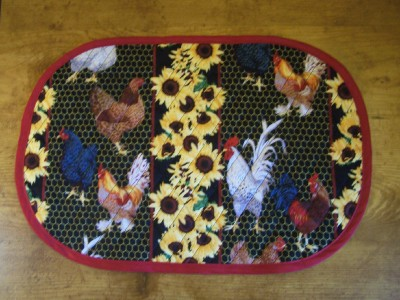 Set of 6 Quilted Rooster Placemats