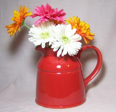 Ceramic Country Crock Vase-Red