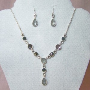Faceted Grey & White Necklace Set