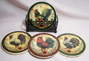 5 pc. Rooster Coaster Set