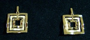 Square Gold Tone Earrings