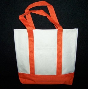 Khaki and Orange Canvas Tote Bag