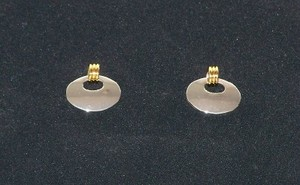Oval Silver Tone Earrings w/gold Loops