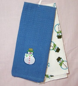 Snowman Waffleweave Kitchen Towels